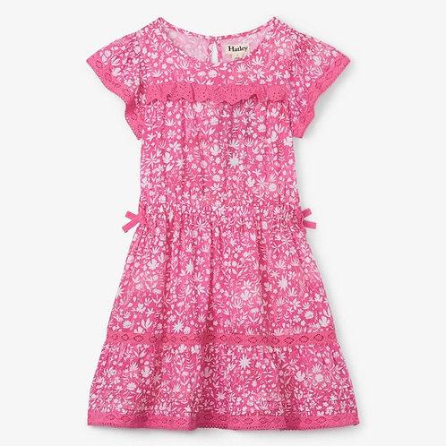 Hatley floral tye dye dress w/ eyelet detail