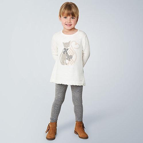 Mayoral White Cat Sweater