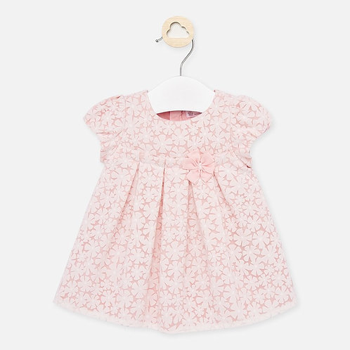 Mayoral pink dress with floral overlay