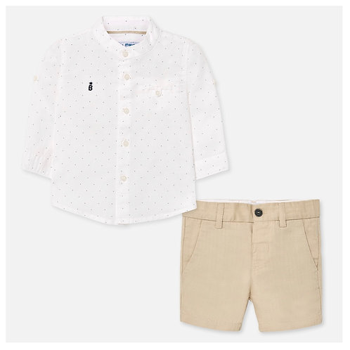 Mayoral linen 2pc with mandarin collar dotted shirt