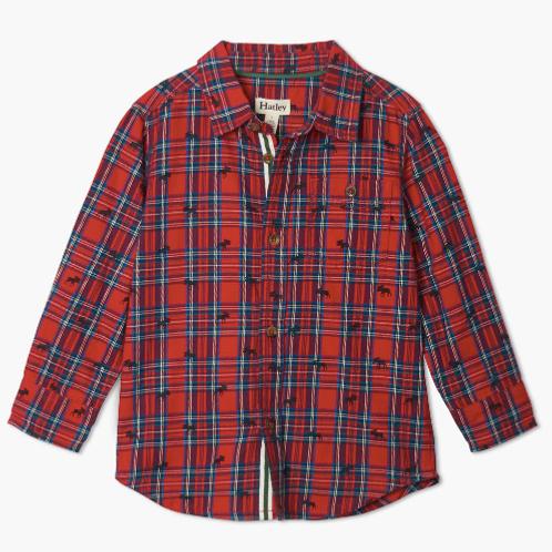 Hatley Plaid Christmas button down Shirt