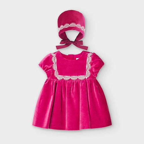 Mayoral velvet dress w/ bonnet