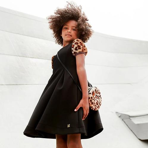 Skater dress w/ leopard cap sleeve