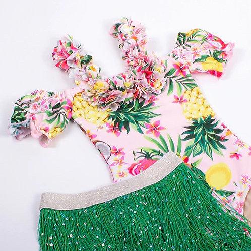 Hawaiian drop shoulder swim w/ skirt