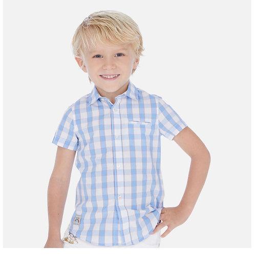 Mayoral Plaid shirt w/orange pin stripe