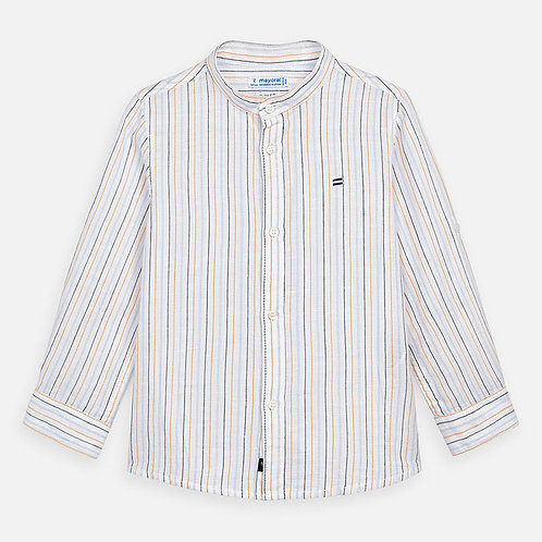Mayoral cotton/linen pinstripe mandarin collar shirt