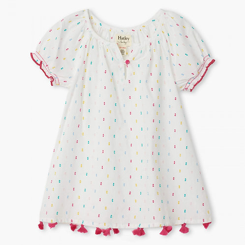Hatley swiss dot dress with tassel detail