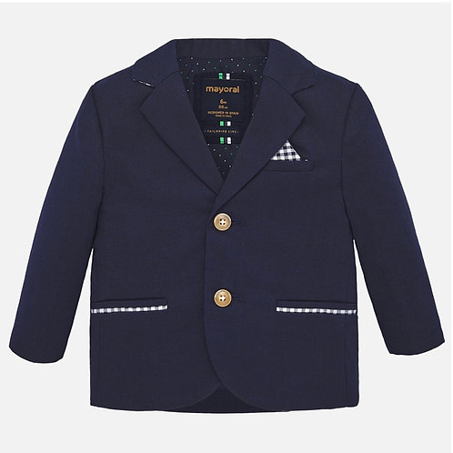 Mayoral navy linen jacket w/ gingham accent