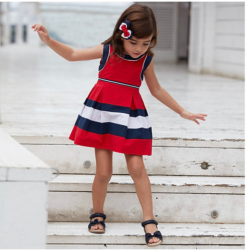 Mayoral red, white and blue cotton dress