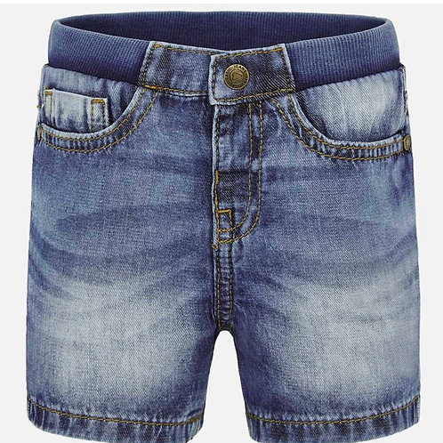 Mayoral washed denim short w/elastic waist