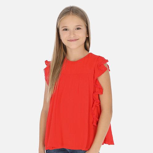 Mayoral persimon gauze blouse w/ruffles