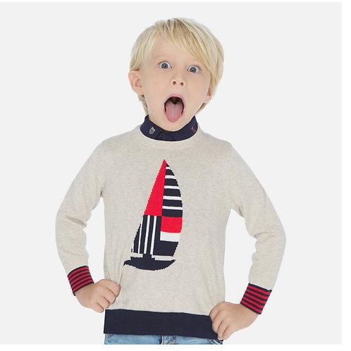 Mayoral Oatmeal Sailboat Sweater