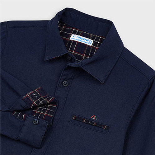 Mayoral navy woven shirt w/ plaid detail