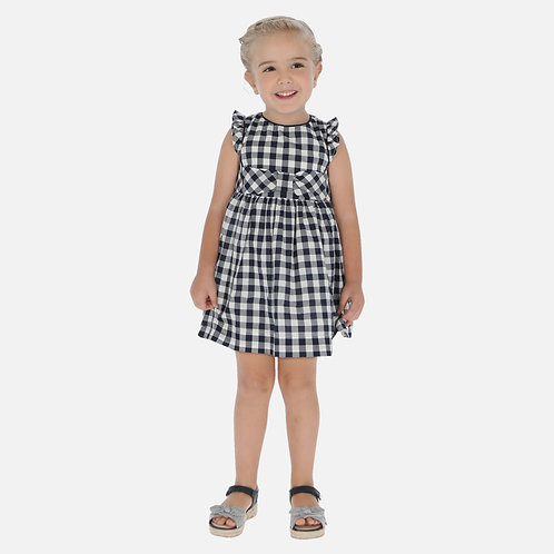 Mayoral navy gingham dress w/crisscross back