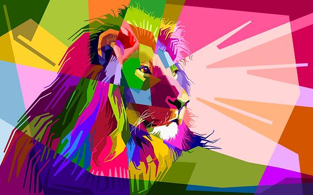 Leão mosaico colorido - Wisdom Lion: design gráfico e web para todos!