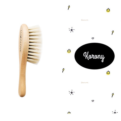 Crowns Pattern - Natural Hair Brush with Goat's bristle and Washcloth
