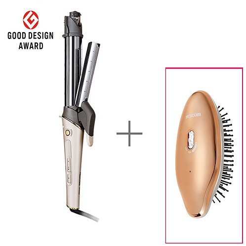 Negative Ion Straightener / Curling Steam Iron + Anti-Static Vibration Brush (S)