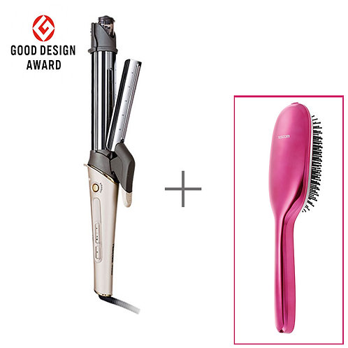 Negative Ion Straightener / Curling Steam Iron + Anti-Static Vibration Brush