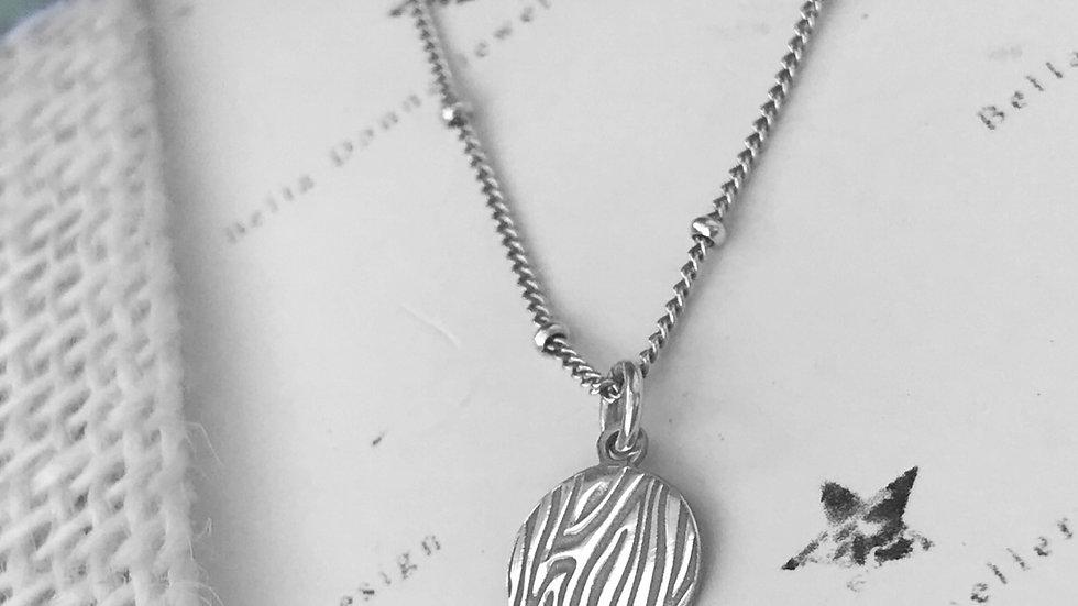 Sterling Silver Animal Print Disc Pendant necklace Zebra, Leopard Snake Prints