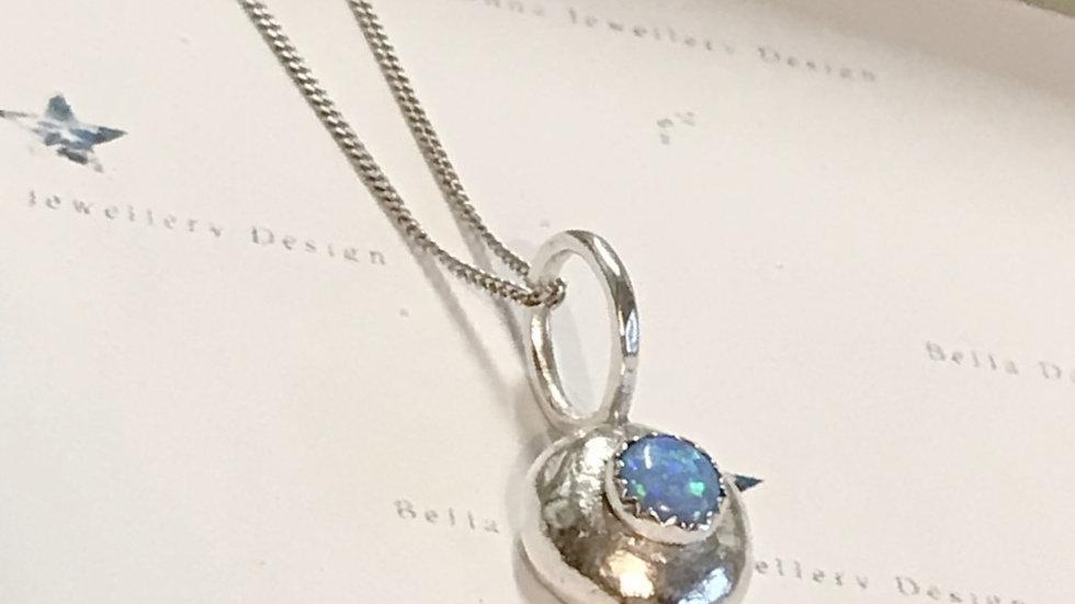 Sterling Silver Pebble birthstone Pendant