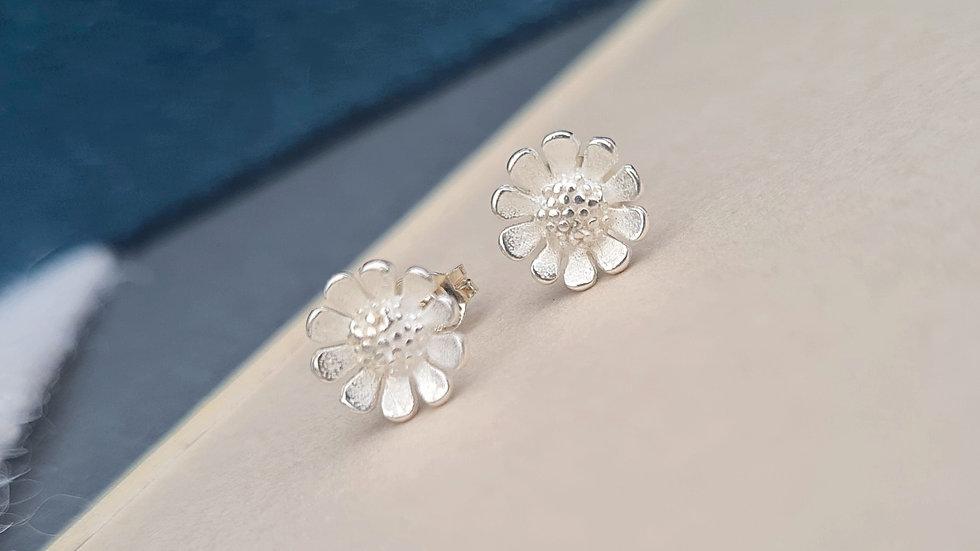 Sterling Silver Sunflower earring studs