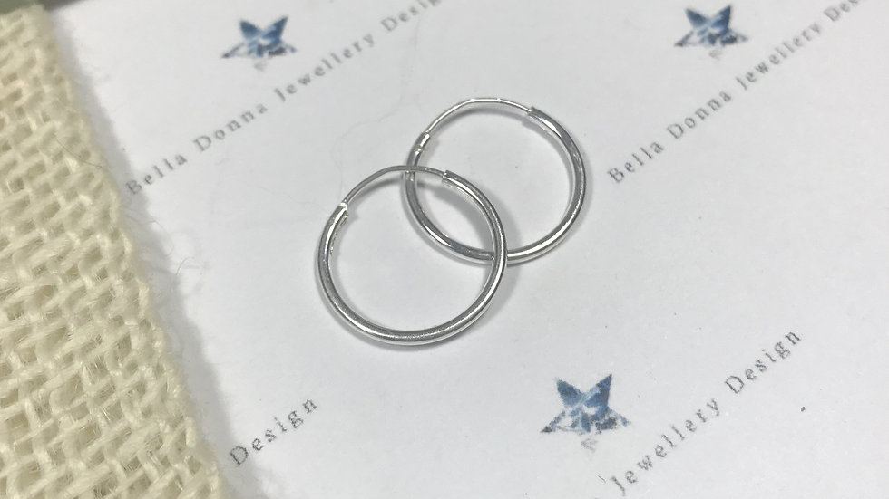 Sterling Silver PLAIN  hoops in various sizes