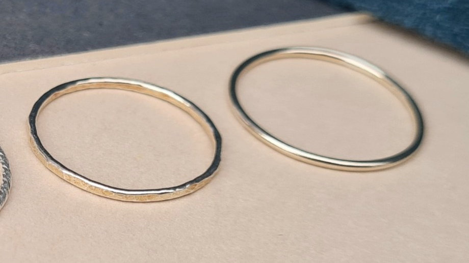 Sterling silver Plain or hammered effect stacking ring