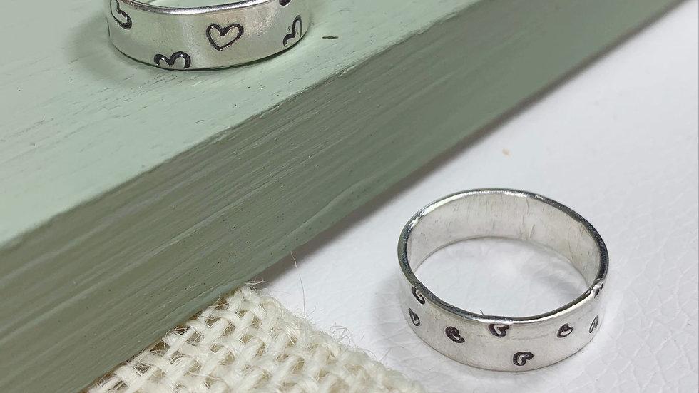 Sterling silver Heart handstamped adjustable ring or band