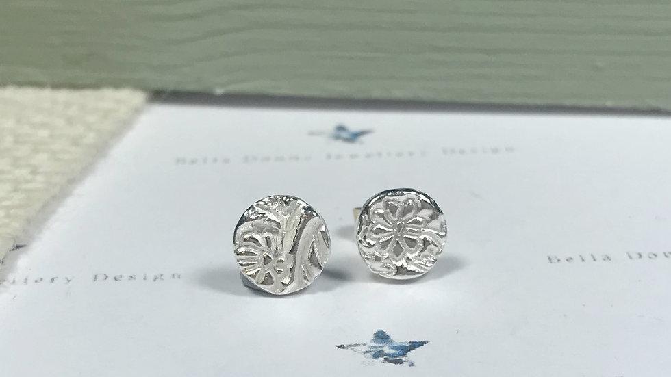 Sterling Silver mini Blossom embossed earring studs