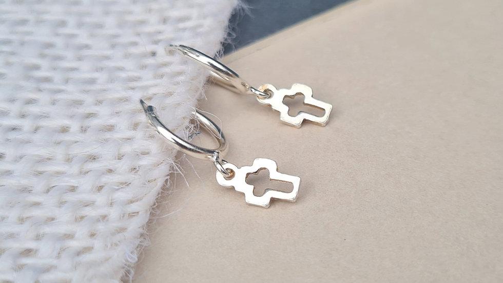 Sterling Silver open cross, heart or star huggie hoop earrings