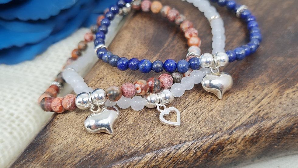 Sterling Silver Arabella  Semi Precious birthstone bracelet with charm