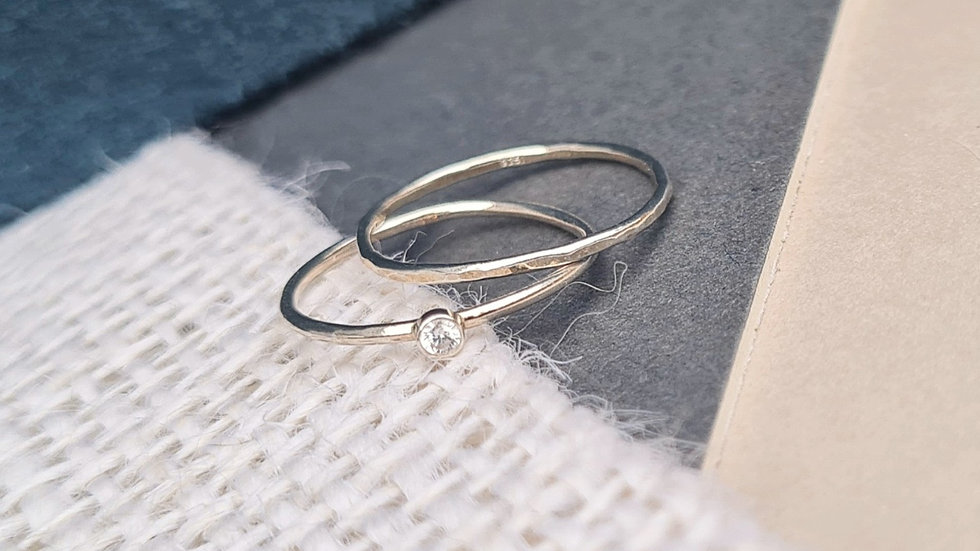 Sterling silver Skinny CZ Cubic Zirconia 2mm stacking ring