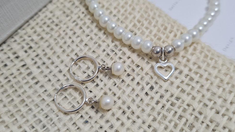 Mini 4mm freshwater pearl and sterling silver skinny huggie hoops