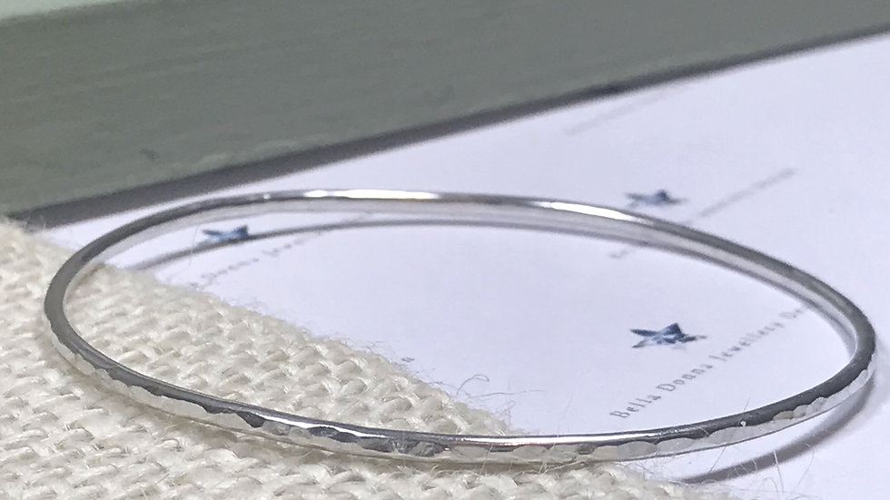 Sterling silver Plain twisted or hammered Stacking Bangle