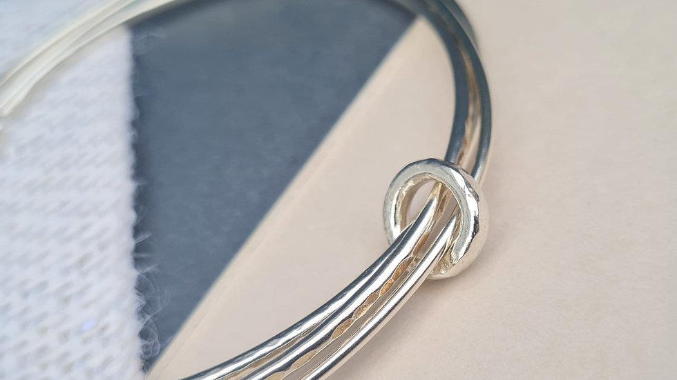 Sterling Silver hammered loop bangle