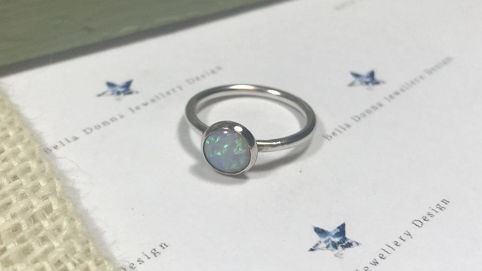 Sterling silver 6mm Birthstone stacking  ring