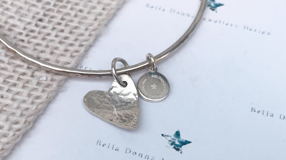Sterling silver Hammered heart dangle bangle