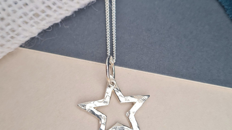 Sterling Silver Large hammered open star Pendant