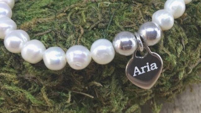 Freshwater pearl and sterling silver beaded bracelet personalised padlock heart