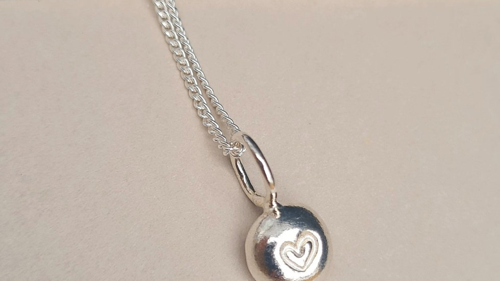 Sterling Silver Mini pebble hand stamped heart Pendant