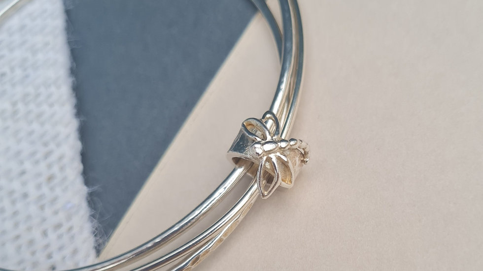 Sterling Silver Dragonfly charm Bangle