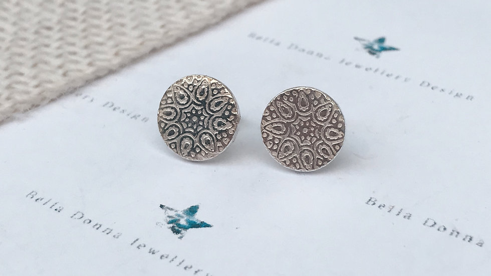 Sterling Silver Mandala inspired earring studs