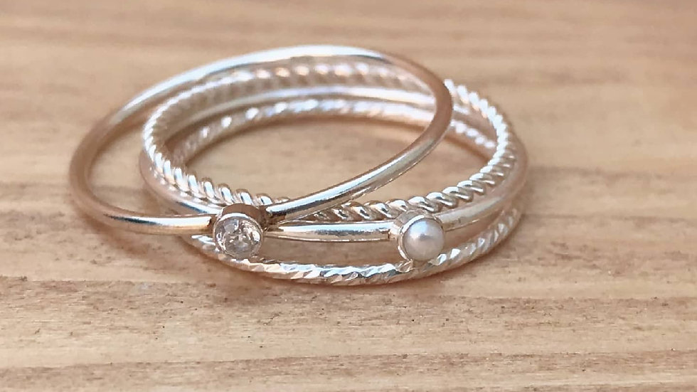 Freshwater and sterling silver 2mm skinny stacking ring