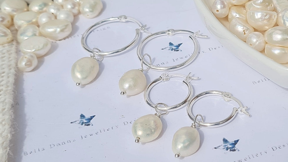 Freshwater pearl and sterling silver hinged hoops