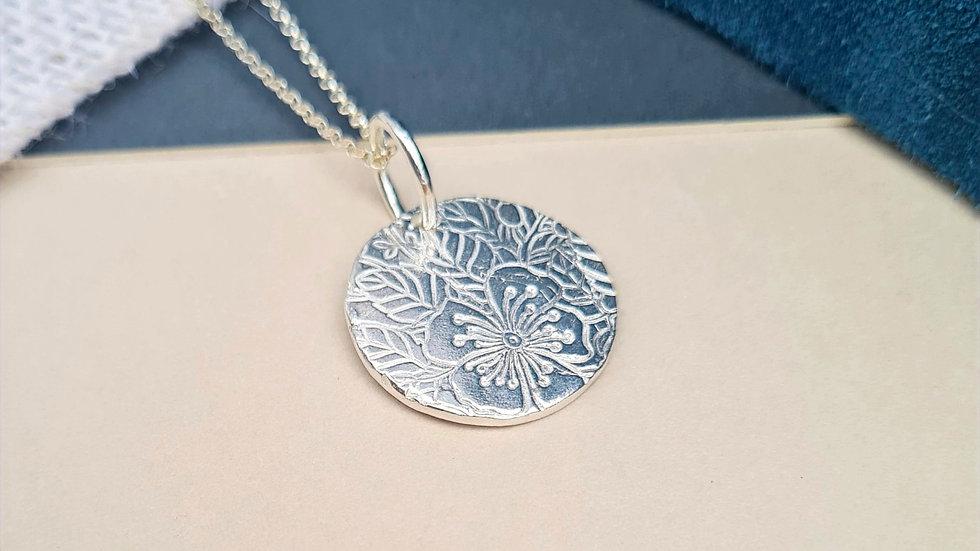 Sterling Silver Blossom Floral Pendant Large