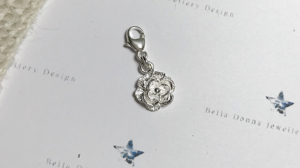 Sterling silver In Bloom floral charms Rose, Lily or Waterlily