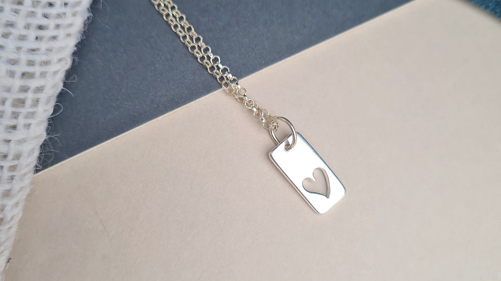 Sterling Silver small  open heart tag Pendant