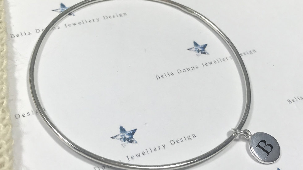 Sterling Silver Personalised ENGRAVED Initial charm bangle