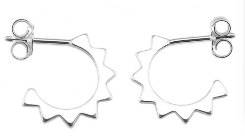 Sterling silver Half sun hoops (Pair)