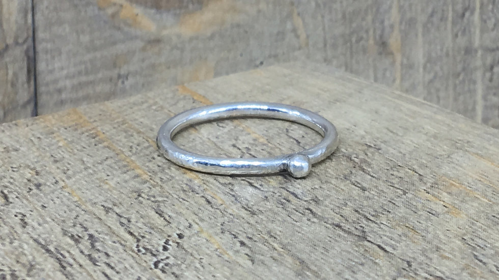 Sterling Silver 2mm Pebble ring recycled silver
